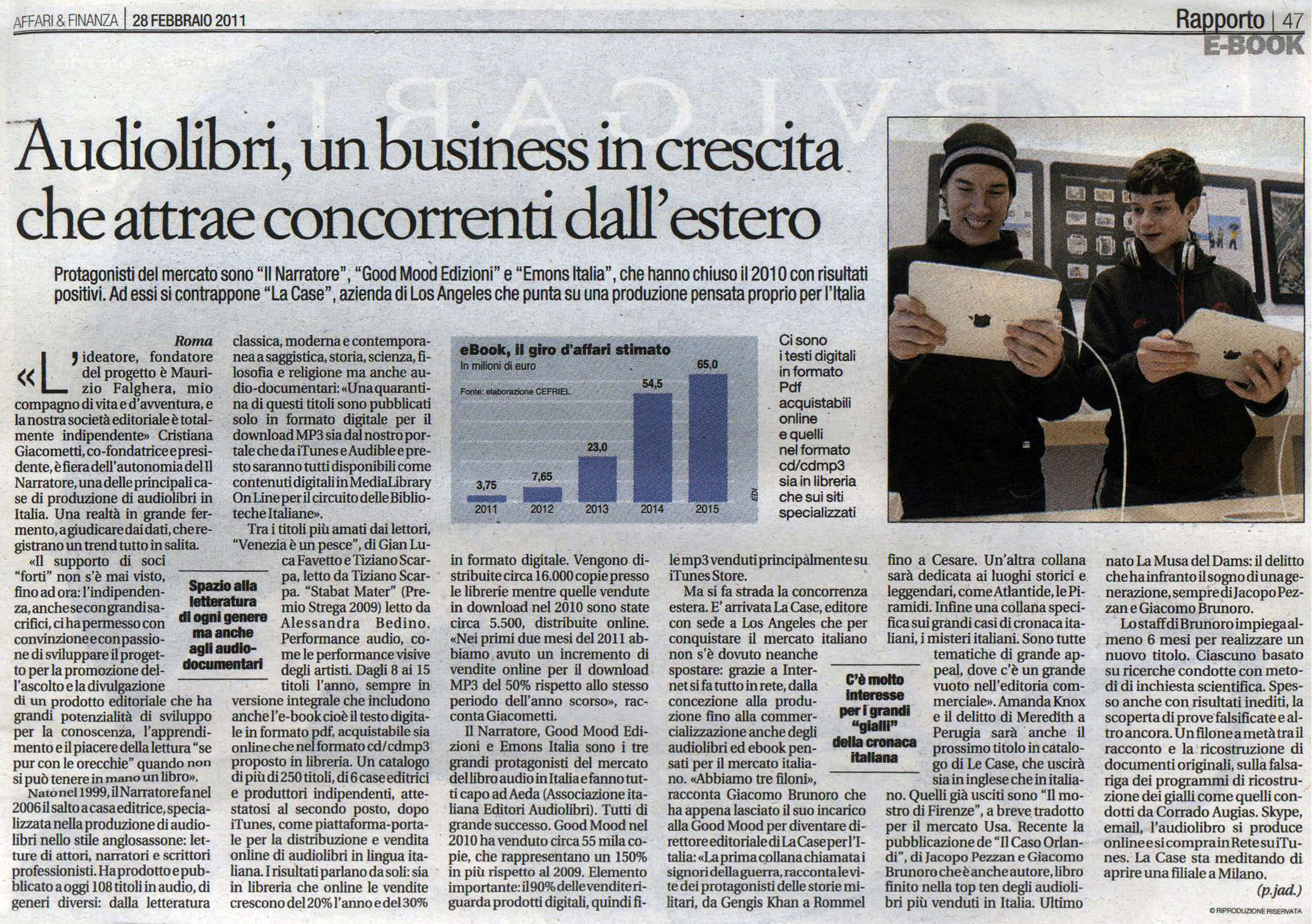 AUDIOLIBRI, UN BUSINESS IN CRESCITA CHE ATTRAE CONCORRENTI DALL'ESTERO