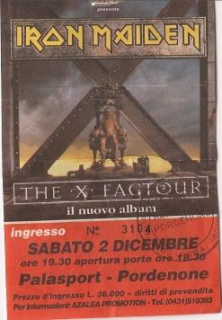 10 concerti memorabili degli Iron Maiden - Pordenone 1995